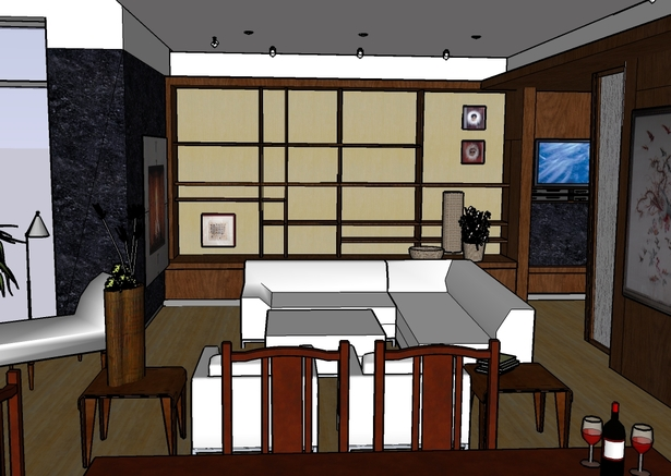 SD rendering of living room