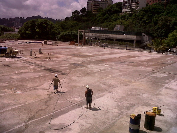 Soccer field on the roof of the bldg. under construction
