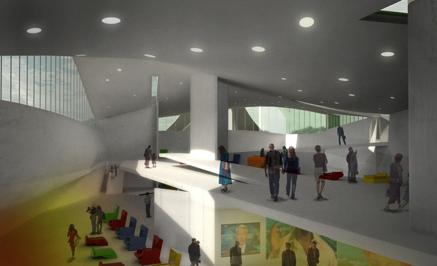 Rendering of NIPC interior, looking west out to city gate.