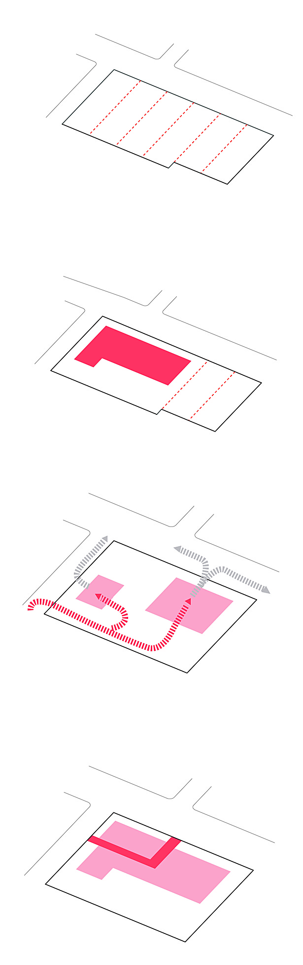 "Diagrams: Lot size 35,775 square feet, Fire station takes 4 lots, Fire truck circulation, ""L"" shape user circulation"