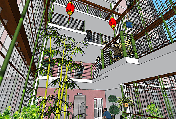 visual connection to all four levels of the interior courtyard