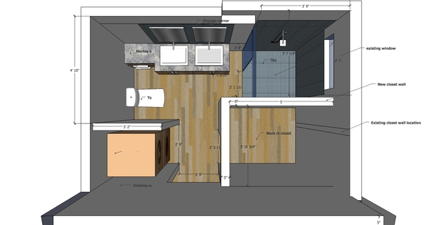 Master bathroom proposed design-plan
