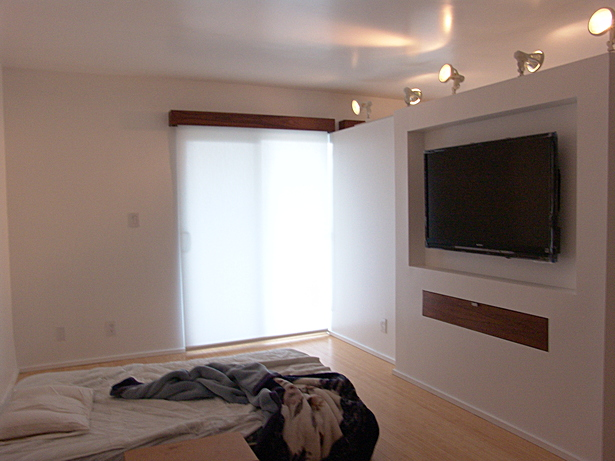 View of partition wall with built-in dvd cabinet and TV inlay