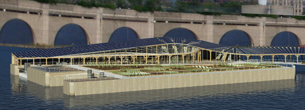 Harlem Piers Farm proposal from Hudson River south with integrated photovoltaic and thermal solar panels, and water collecting greenhouse roof.