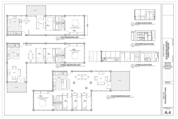 2, 3, and 4 BR Unit Configurations