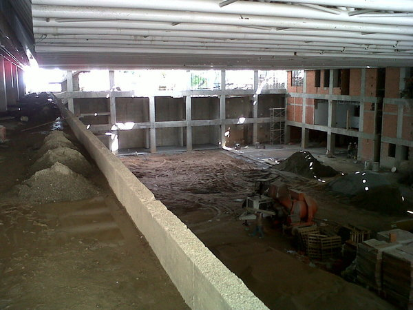 Gym under construction, view from gallery above entrance