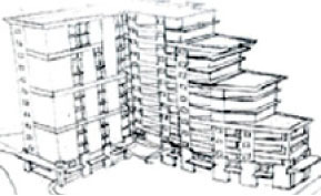 Hand Sketch of design for Embassy Suites in Ka'anapali, HI