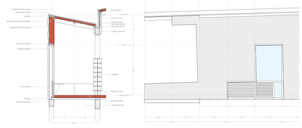 detailed wall section and elevation (AutoCAD, Adobe Illustrator)