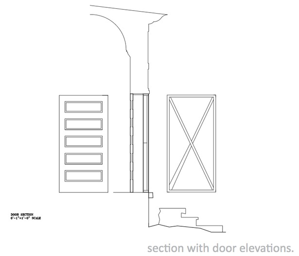 Door section and interior/exterior elevations.