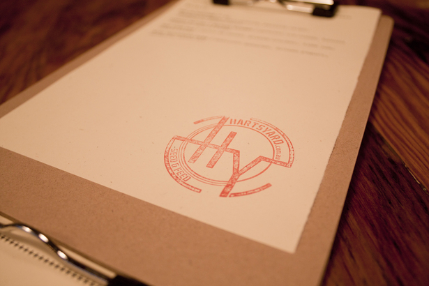 hand-stamped menu, © 2012 source-x