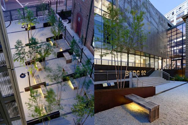Illuminated courtyard; BLDG 92 Entrance
