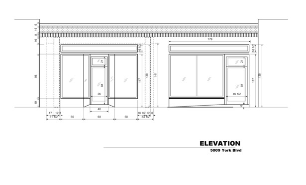 Historic storefront in Highland Park on York Blvd., facade drawing