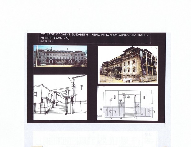 Exist. Bldg. under construction/renovation, Sketch and Int. Elev. of Main Stair
