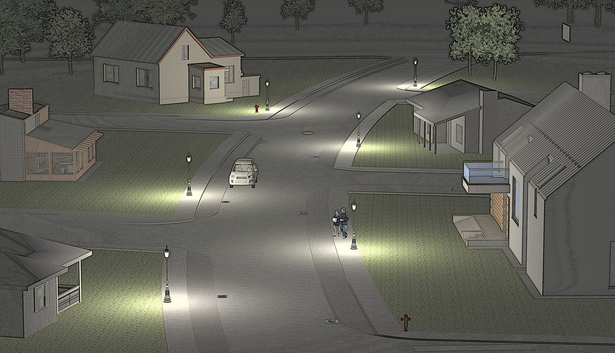 Night Render Streets U.Development (FProject Civil Engineering)