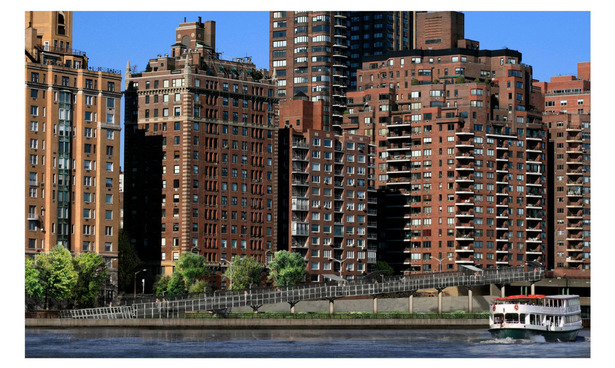 Contextual rendering of proposed ramp structure along East River waterfront.