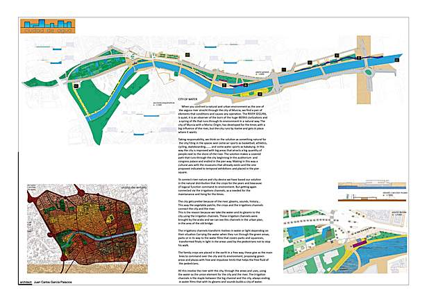 "Celebration of cities. ""City of wáter"" development of Segura rivershore in Murcia"
