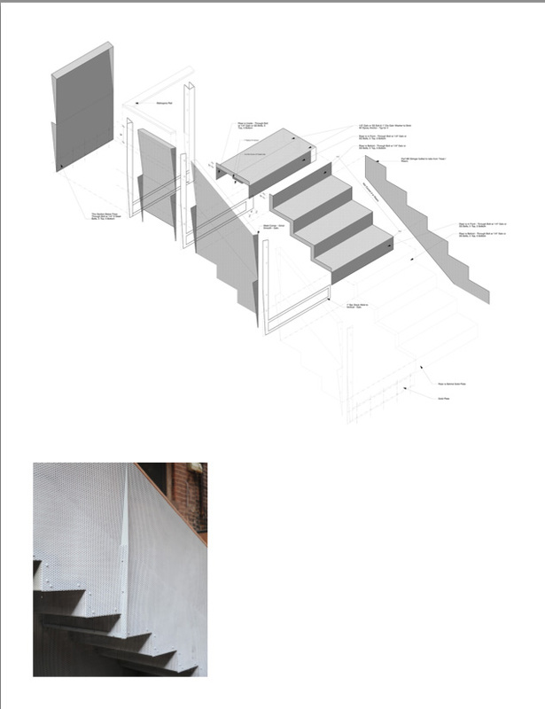 Top: Drawing of Stair Assembly at Rear; all members of assembly play a structural role Bottom: View of Stair at Rear