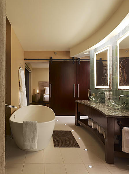 Presidential Suite bathroom with view into the bedroom