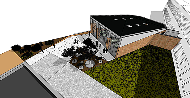 Exterior Render - bird's eye of multi-purpose room and landscape