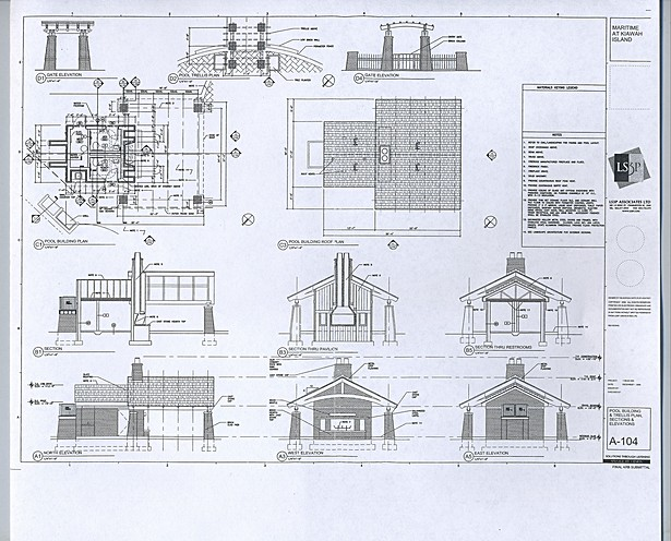 Plans, sections and elevations