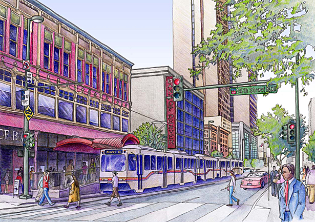 Hand Rendering - 16th Street Mall, Denver, CO. (Color Pencil)