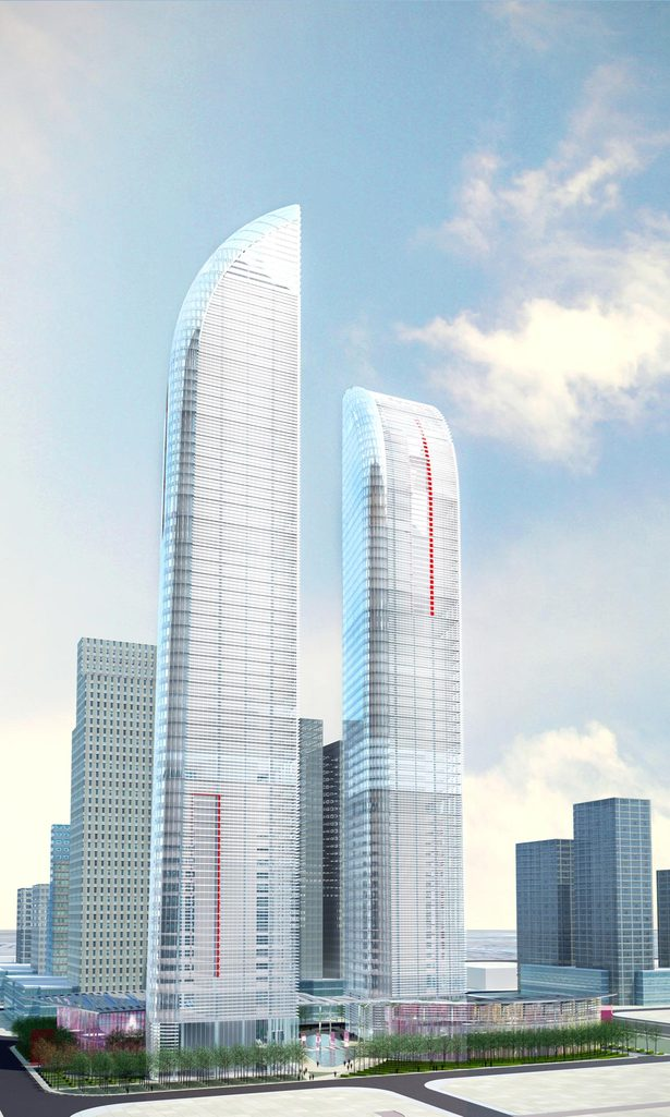 Greenland Yinchuan Super Tall Project, rendering by John Portman & Associates