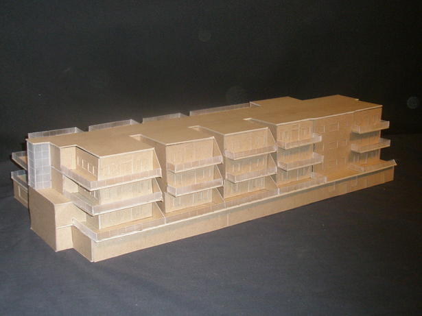 Model of a portion of one of the mixed-use buildings designed for the project. 
