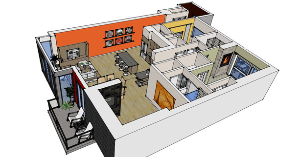 isometric of custom condo interior
