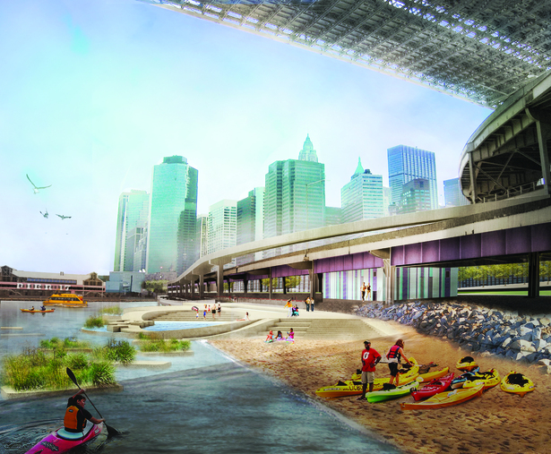 Rendering of proposed Brooklyn Bridge Beach