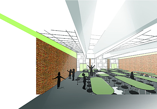 Interior Render - view from entry to multi-purpose room
