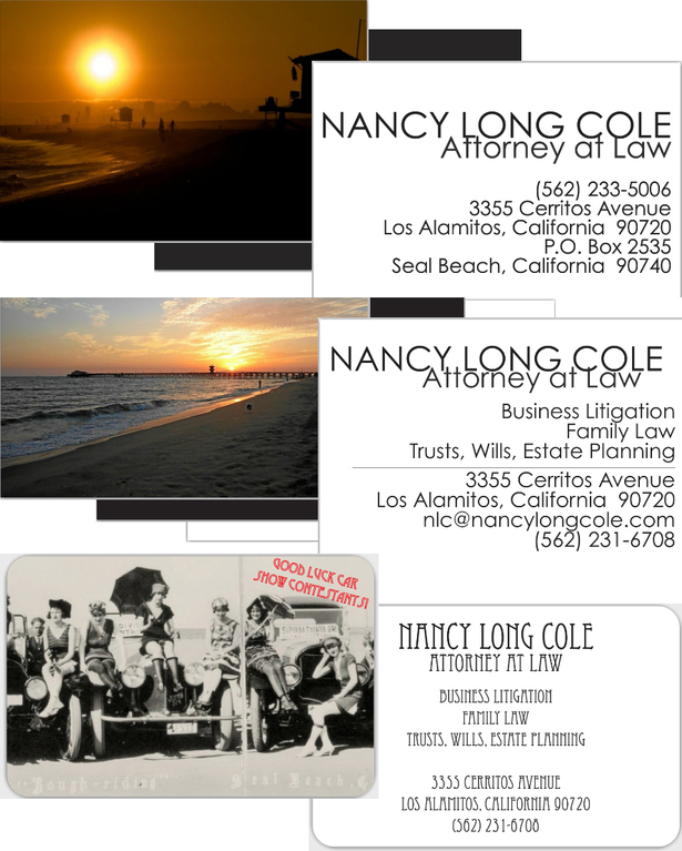 Business cards for attorney, Nancy Long Cole 