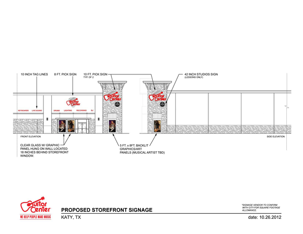 Storefront proposal showing signage locations and graphics allocations