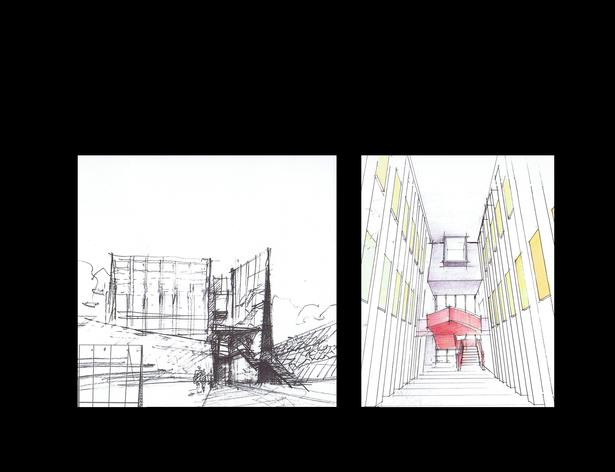 Initial sketch of the Building, sketch of Library double height space