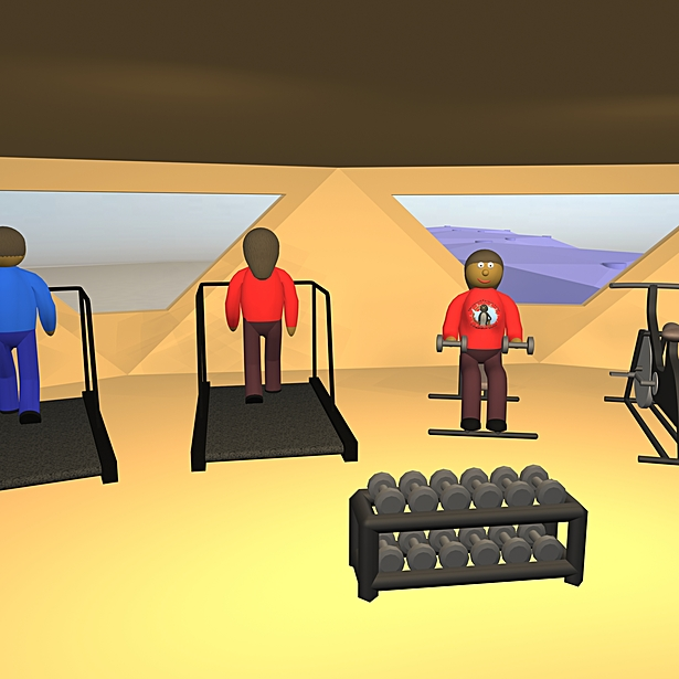 The station features a two-story fully equipped gym fo rthe exclusive use of station residents. With a large selection of equipment, none of the station's residents should ever have to wait in line to work out.