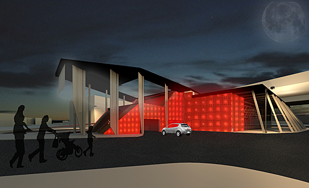 Glowing facade and movie screen
