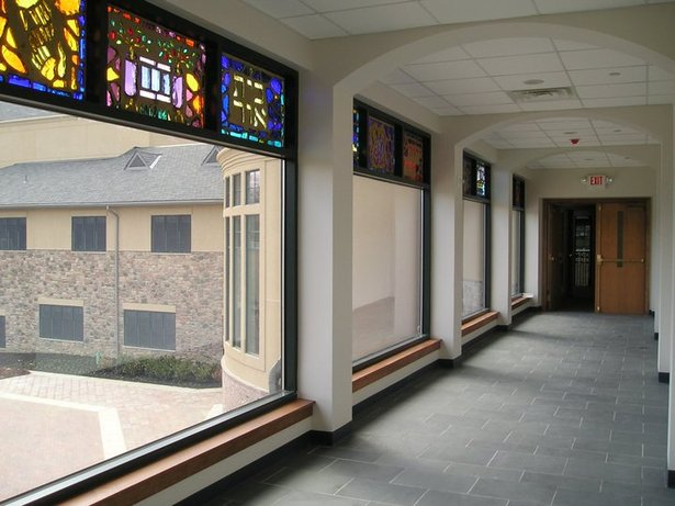 Hall to Education wing - with relocated stained glass