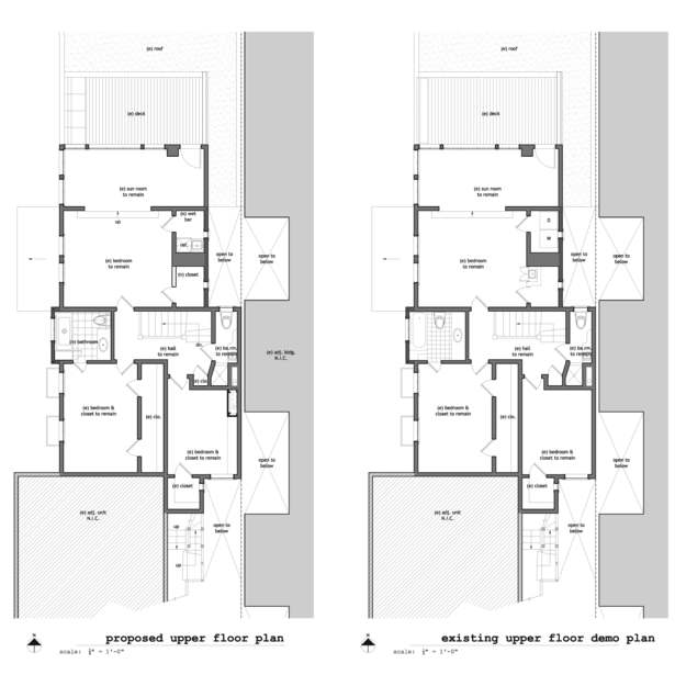 Existing & Proposed Upper Floor Plans