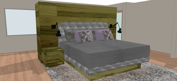 The focal point in the master suite bedroom is a freestanding headboard made of reclaimed wood from dismantled Kentucky Derby fencing.
