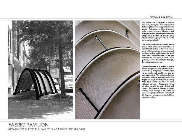 Fabric Pavilion - render and model photograph