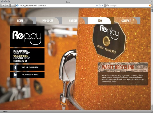 Eco page informs users of various efforts made by Replay Drums to lessen their impact left on the natural environment.