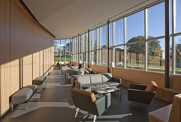 First waiting area with panoramic views of the campus