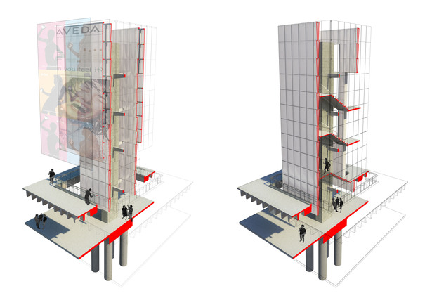 Inverted Stadium. Tower Sectional Study. Circulation Tower / LED Display Tower