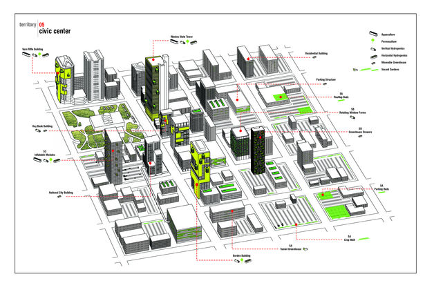 Axon Drawing of Projects of Multiple Students Across Downtown Columbus