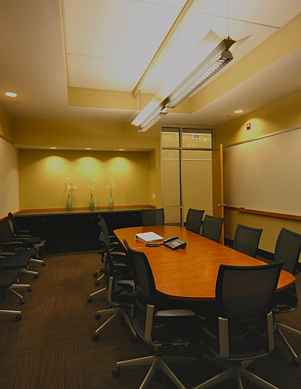 Conference room enclosure inside auditorium volume
