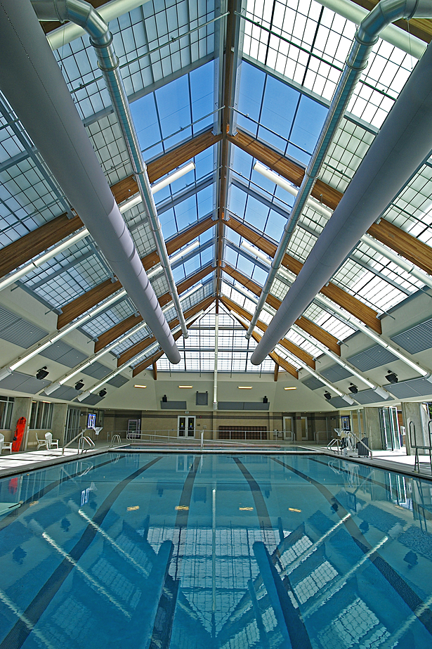 Lap pool with partially operable roof