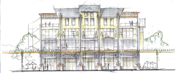 Sketch elevations for Columbia SQ Cincinnati