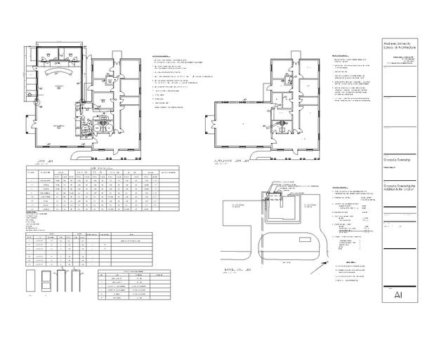 Floor plans with site plan and door window schedules