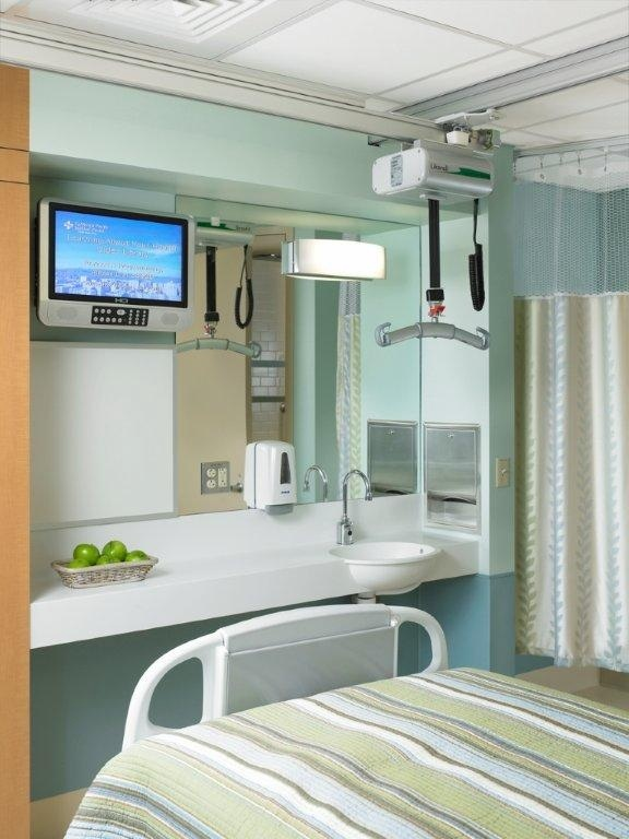 Single Rehabilitation Acute Care Patient Room footwall.