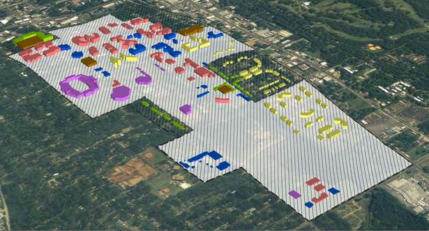 New land uses, acquisitions, and construction modeled in GIS