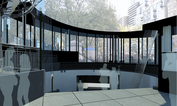 Library B : Rendering Looking at Subway Entrance & Library